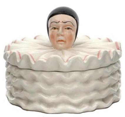 French Pierrot Jewelry Box, Ceramic Sad Clown Figure Trinket Dish