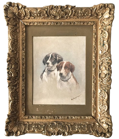 Gilt Framed Oil Painting On Board Of Foxhound Hunting Dogs Signed
