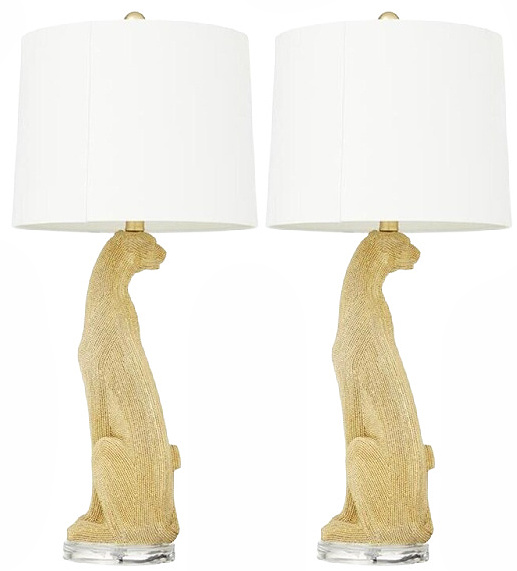 Gold Leopard Glam Table Lamp - (Set of 2 )