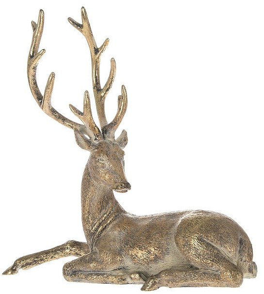 Gold Sitting Deer Looking Right