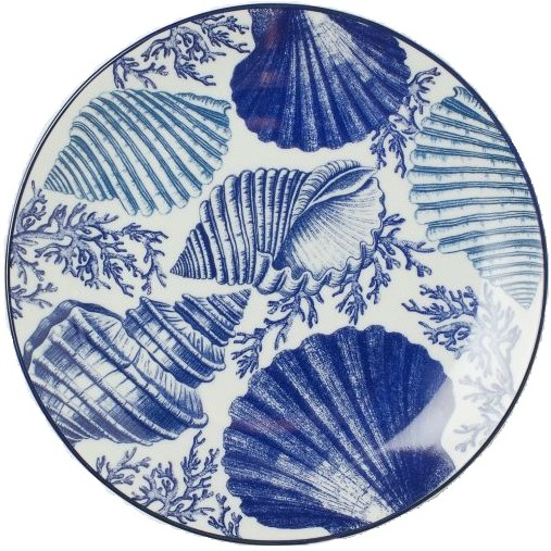 Hand-painted shell motif plates