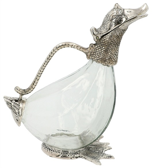 Handcrafted Silvertone Duck Decanter