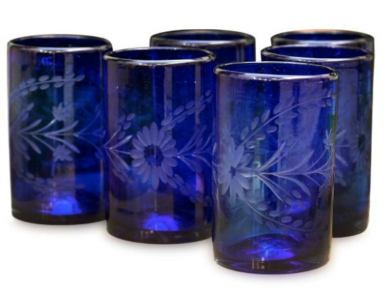 Handmade Blown Glass Blue Blossoms Glasses Set of 6