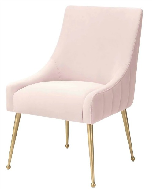 Irina Dining Chair Modern Easy Clean Velvet Upholstered Side Chair with Brushed Gold Leg