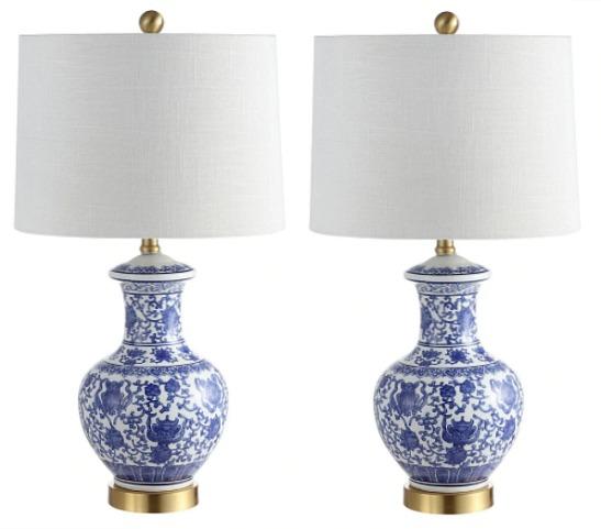 "Jennifer 25.25"" Ceramic LED Table Lamp, Blue (Set of 2) by JONATHAN Y"