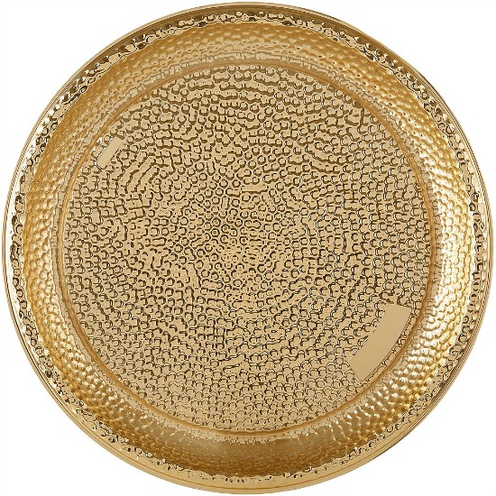 Large Gold Hammered Serving Tray
