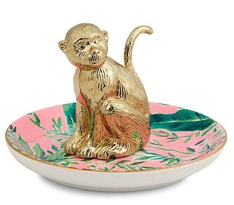 Lilly Pulitzer Chimpanzee Ceramic Plate & Metal Ring Holder