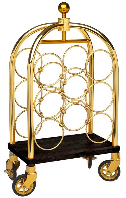 Luggage Cart Winerack Gold