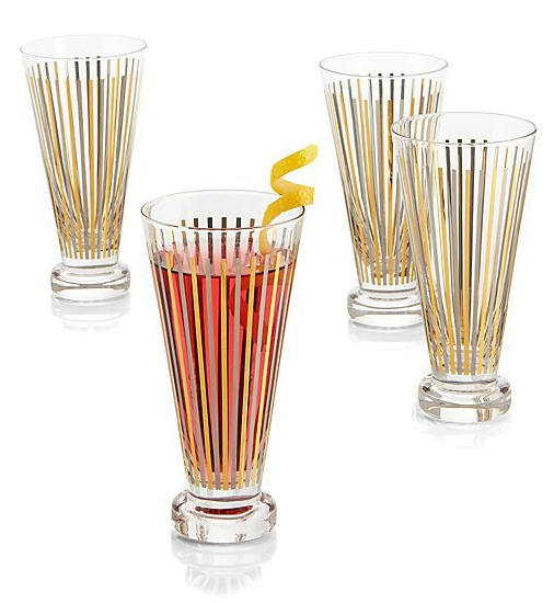 Metallic Stripes Cocktail Glasses, Set of 4