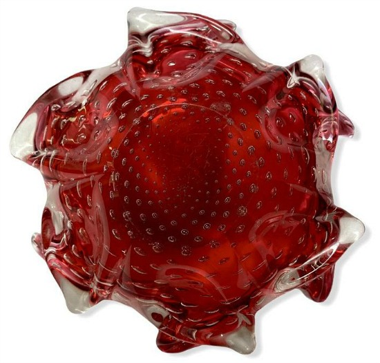 Murano Cranberry Blown Glass Bowl