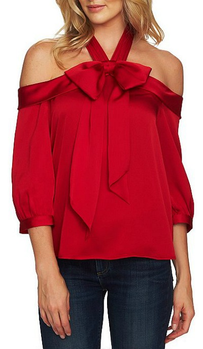 Off the Shoulder Satin Finish Blouse with Halter Bow Sash Detail