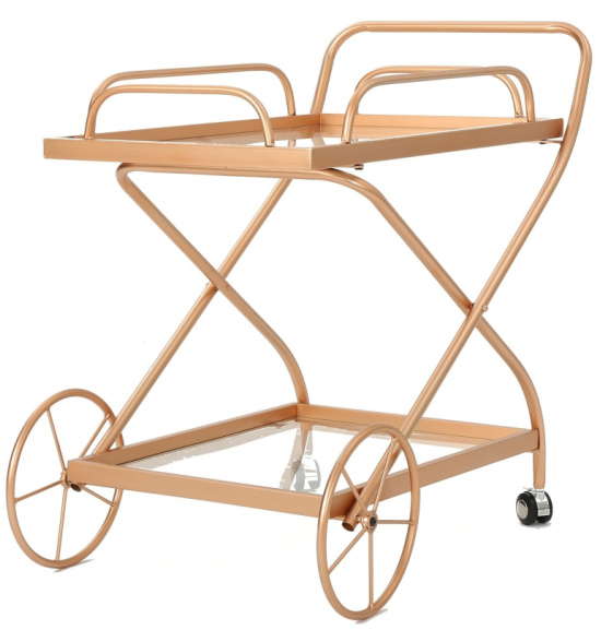 Perley Traditional Glass Bar Cart with Shelves by Christopher Knight Home - Gold
