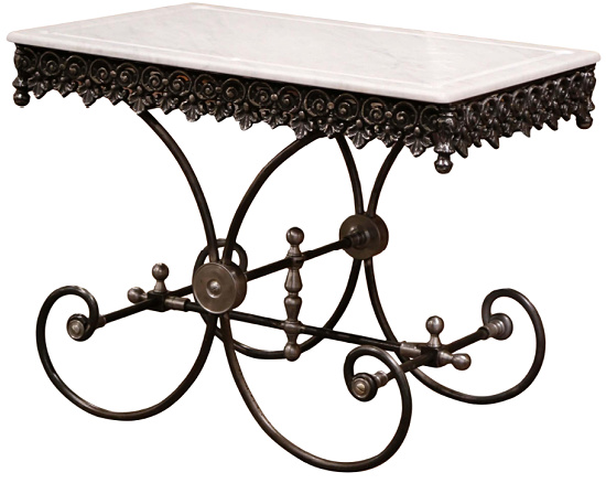 Polished French Pastry Table With Marble Top and Metal Finials