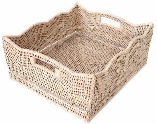 Rattan Scallop Deep Ottoman Tray