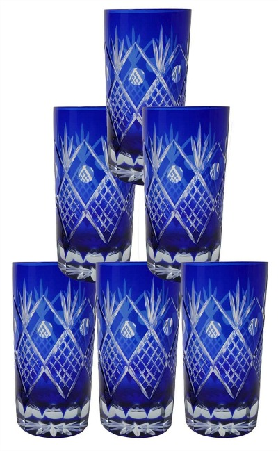 Set of 6 Exquisite Bohemian Crystal Style Cut Czech Drinking Rock Glass Cups Tumbler Set
