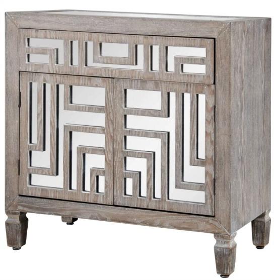 StyleCraft Grey with Whitewash Wooden Cabinet with Mirror Design
