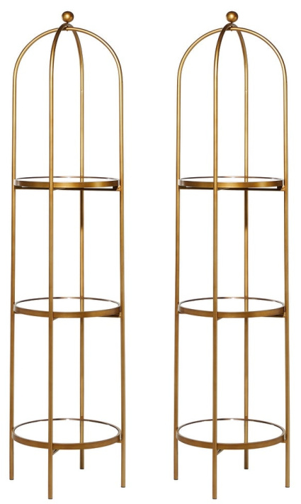 Tall-Arched-Antique-Gold-Metal-Framed-3-Tier-Mirrored-Shelf