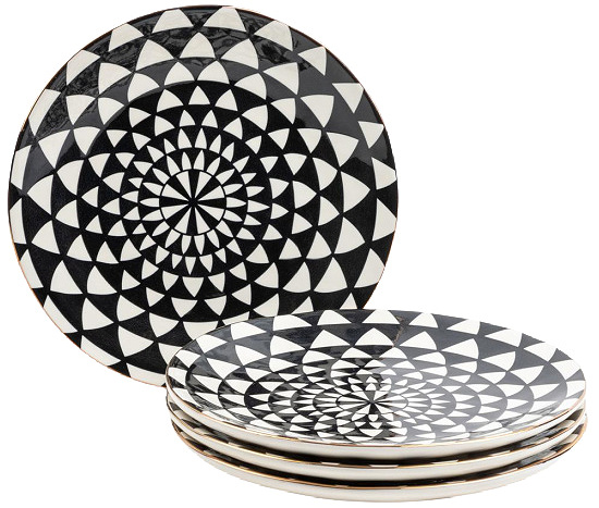 Thyme & Table Dinnerware Black & White Medallion Stoneware Salad Round Plates, 4 Pack.
