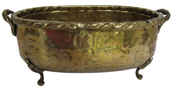 Vintage Hand-Made Hammered Brass 3 Leg Cachepot
