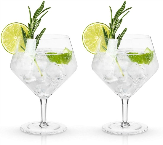 Viski Raye Cocktail Glasses Gin & Tonic Cups, Clear, Set of 2