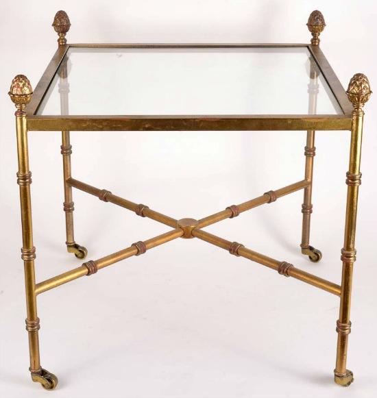 acorn finial glass top cart on wheels