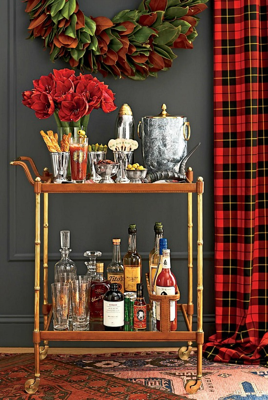 festive bar cart