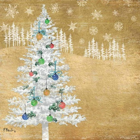 gold-Christmas-woodland-tree-cocktail-napkin