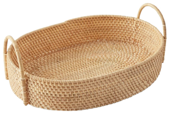 Light Woven Oval Tray