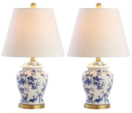 Penelope blue and white table lamp