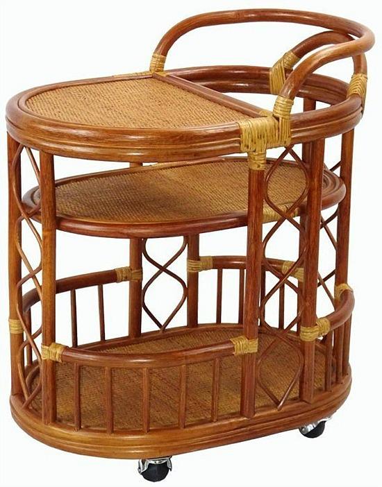 Trolly Rattan Wicker Serving Cart Handmade Woven w/Wheels, Colonial