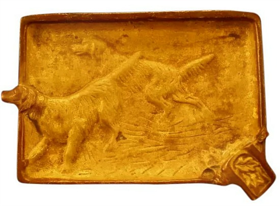 vintage gold setter ash tray 1