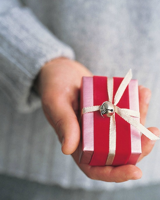 wrapped gift in pink