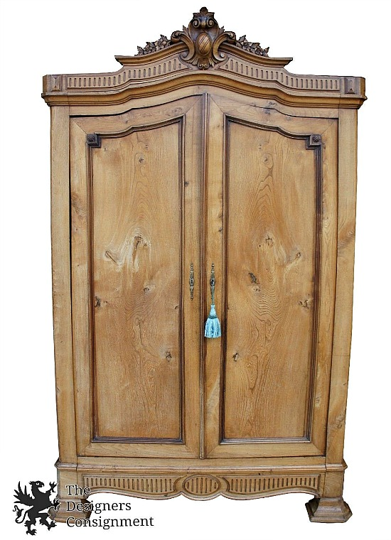 Antique Carved Pine English Imported Armoire Cabinet Louis XVI Baroque Styling