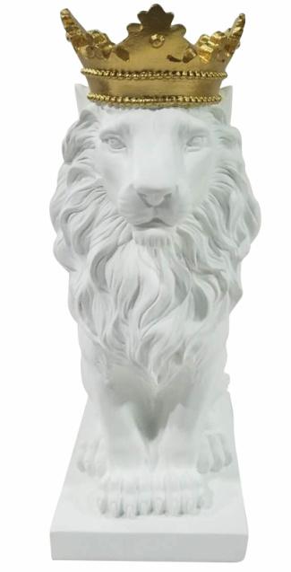 Bathilde Polyresin Lion Figurine Decor with Crown