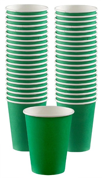 Big Party Pack Festive Green Paper Coffee Cups 40ct