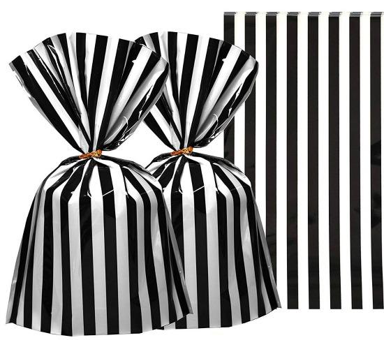 Black White Stripes Party Favors Cello Bags