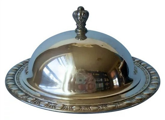 Butter Cheese Dome Under Plate Vintage Silver Plated Small