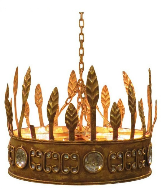 Gold Crown Hanging Pendant Light