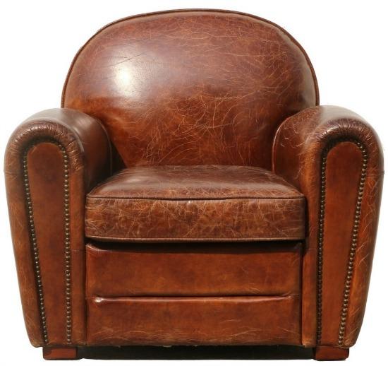 Pasargad Home Genuine Leather Paris Club Chair