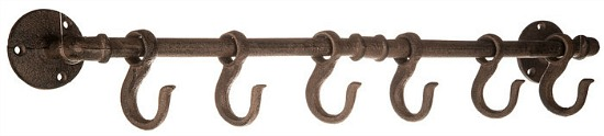 Waterpipe Metal Wall Decor With Hooks