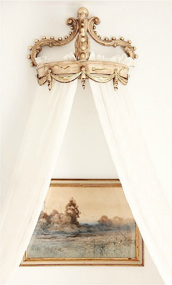 bed crown above painting