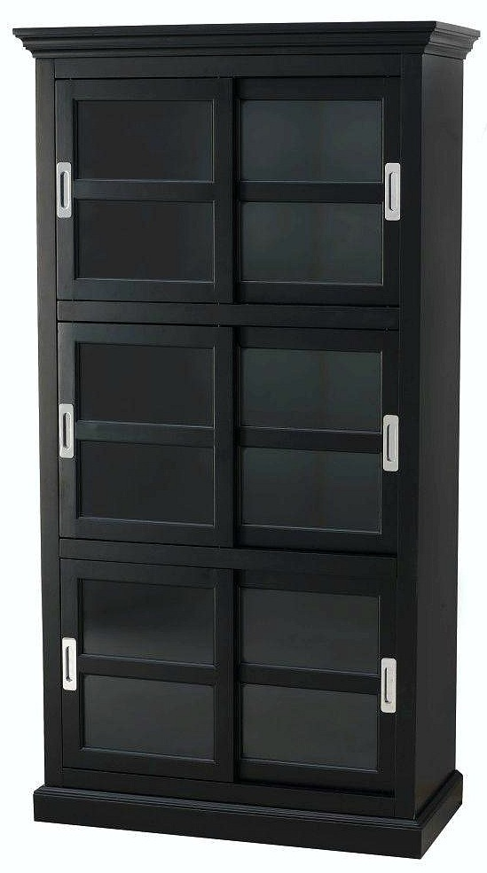 Lexington Black Glass Door Bookcase