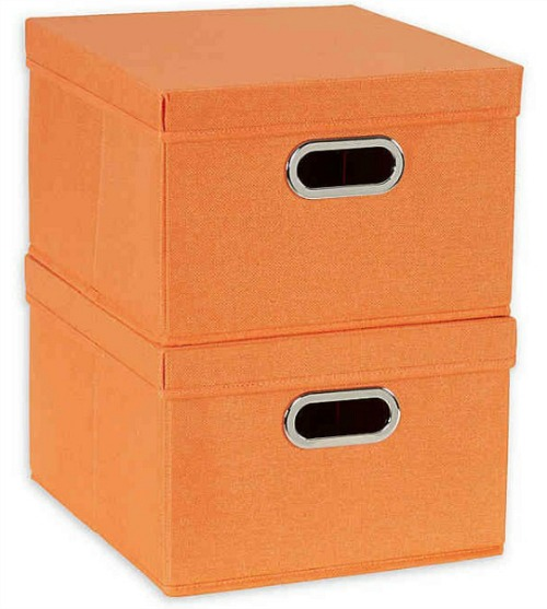 Household Essentials® Collapsible Storage Boxes with Lids in Orange (Set of 2)
