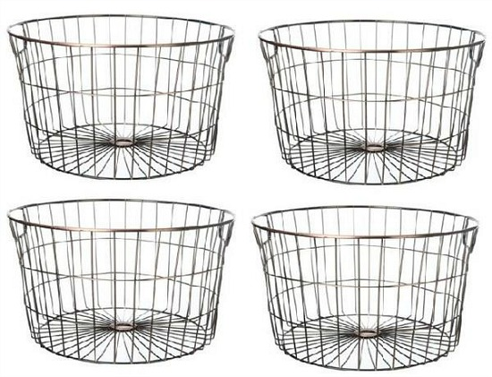 wire storage basket set of 4