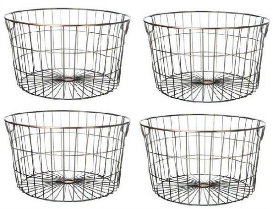 wire storage basket set of 4