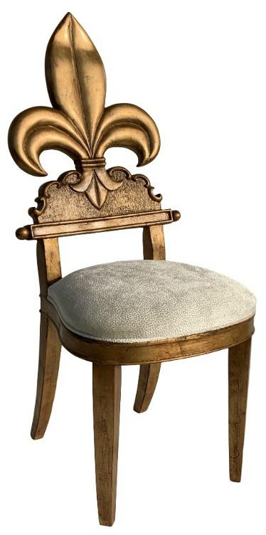 1980s Vintage Gold Leaf Fleur De Lis Vanity Chair