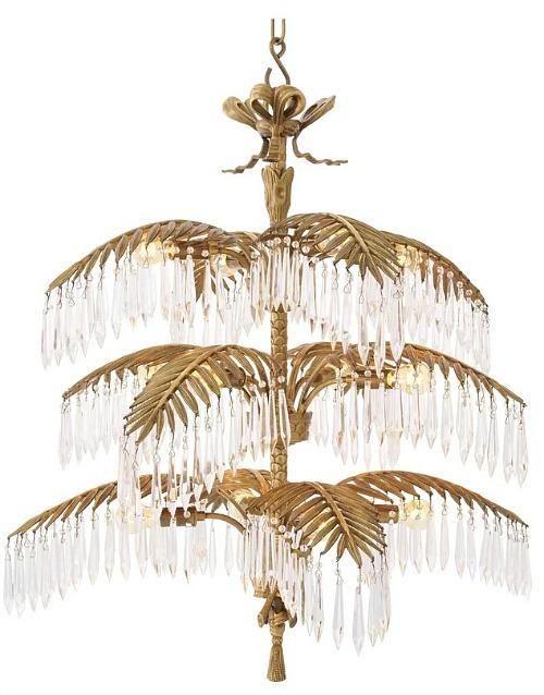 Brass Hildebrandt Palm 12-Light Unique / Statement Tiered Chandelier