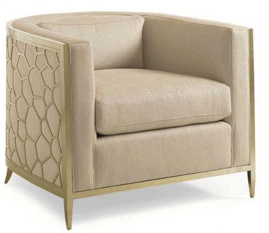 Caracole Classic Neutral Cream Gold Bullion Barrel Accent Chair