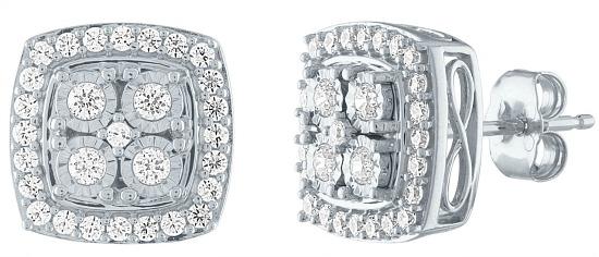 Genuine White Diamond Sterling Silver 10.7mm Stud Earrings
