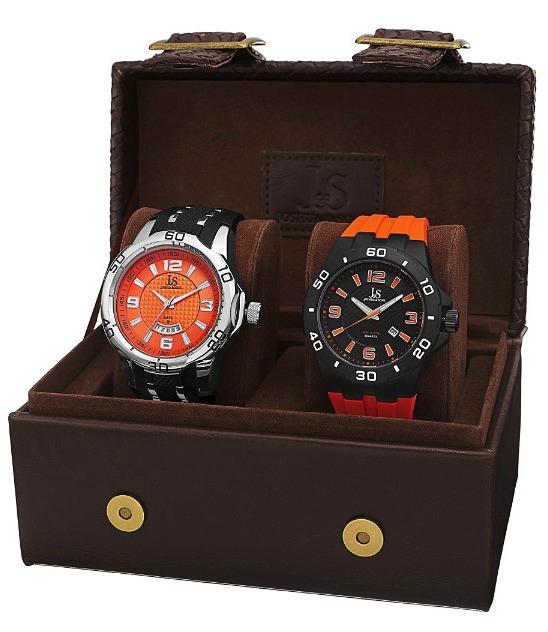 Joshua & Sons Men's Quartz Date Strap Watch Set